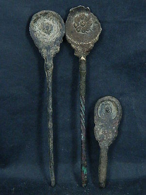 Ancient Bronze 3 Spoons Bactrian 300 BC #S4534