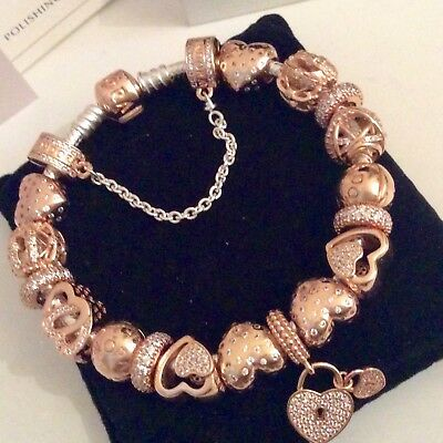New Full Pandora Rose Gold Clasp Bracelet 19cm Charms Hearts Clips Safety Chain 620 00 Picclick Uk