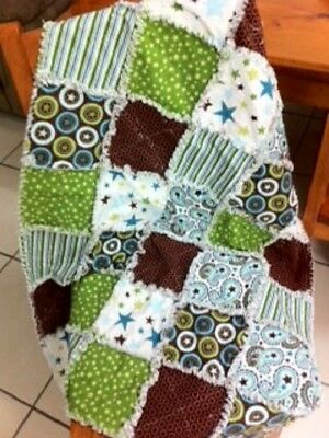 Baby Cot Quilt - Rag Quilt - Flannel Raggy Quilt for Cot - FREE POST
