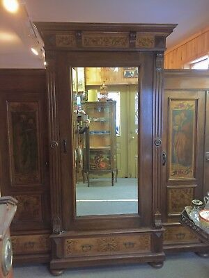 "Antique Mirror German Armoire Triple Painted Wardrobe 82"" H 76 1/2"" W 23 1/3"" D"