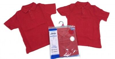 *SALE* Boys School Pack of 2 Polo Shirts Red 3,4,5,6,7,8,9,10,11,12,13 Yrs NEW