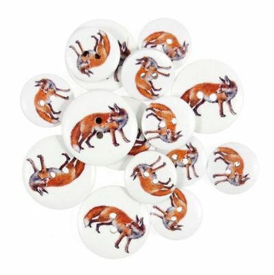 Fox Animal Wooden Craft Buttons Pack of 15 Two Sizes British Wildlife - 050