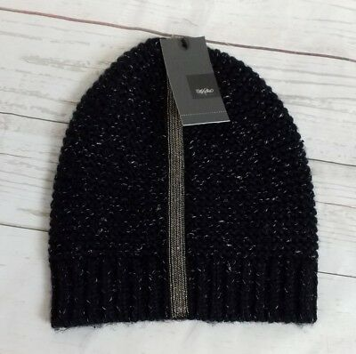 cheaper cc414 ffef4 Womens Black Silver Knit Beanie Hat Embelished Mossimo New