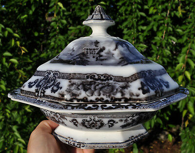 Antique Flow Mulberry Staffordshire Ironstone Covered Tureen Davenport Cyprus