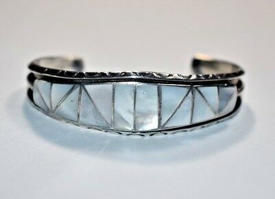 Vintage Native Zuni Sterling Silver Inlaid Mother Of Pearl Cuff Bracelet 6 5