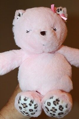 Carters Pink Kitty Cat Plush Baby Toy Leopard Print Rattle Child of Mine