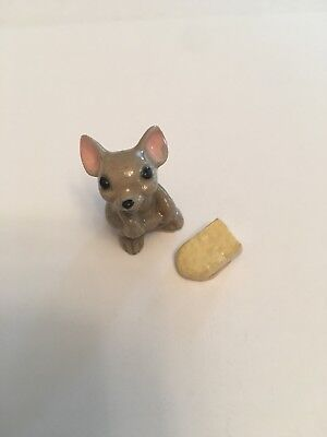 Hagen Renaker Vintage 1970's Ceramic Miniature Mouse and Cheese 2-pc set