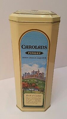 "Vintage CAROLANS Finest Irish Cream Liqueur metal tin 10.5"" x 4"""