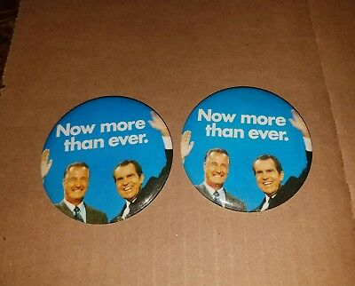 Richard NIXON AGNEW - NOW MORE THAN EVER Campaign - 2 Buttons - Pin Watergate