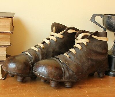 193e4a1ff ANTIQUE LEATHER FOOTBALL Boots. Old Vintage Soccer Cleats c1920 ...