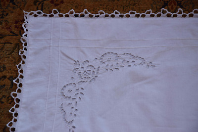 Antique French Richelieu Linen Pillowcase C.1890 Embroidered Bedding  White Lace