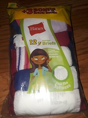 12 Pack Hanes Girls' Assorted Tagless Briefs Size 14 No ride Up Cotton