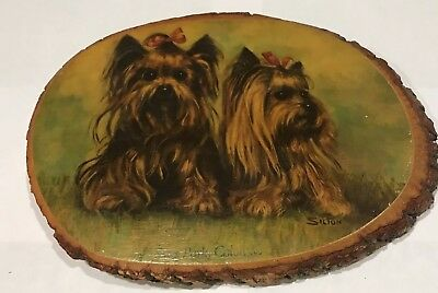 Yorkshire Terrier Wood Plaque by Silton Yorkie in Bows on Slice of Log Free Ship