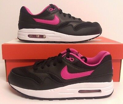 the latest 47f7b 9ef7b Nike Air Max 1(GS) Black White Pink Juniors Trainers Sizes 5