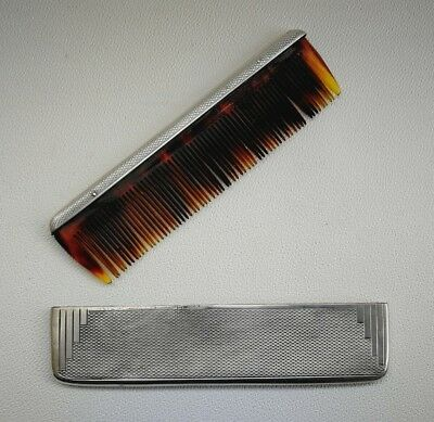 Vintage 1936 Art Deco GW Lewis & Co Odeon Style Solid Silver Pocket Comb & Cover