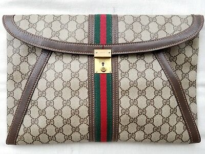 4648d37344f3 RARE~VINTAGE GUCCI WEB GG SUPREME Portfolio/Laptop Case/Clutch~Red ...