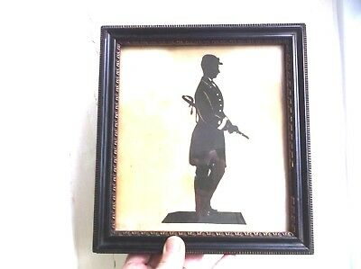 Very Rare Antique 19Th Century Silhouette  Of American Civil War Soldier, Framed