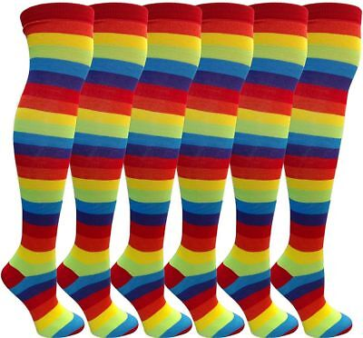 6 Pairs excell Ladies Rainbow Stripe Over The Knee Sock #6007-6