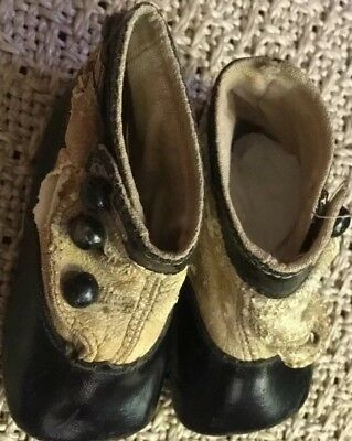Antique Vintage Old Victorian Three Button Late 1800's Era Child Baby Doll Shoes
