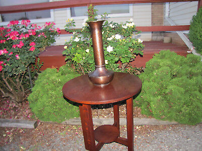 """Antique Roycroft """"American Beauty"""" Tall Hammered Copper Vase  inv5309"""