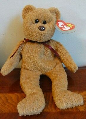 """TY BEANIE BABIES BABY CURLY the BROWN  BEAR MWMT 8.5"""" 1996"""