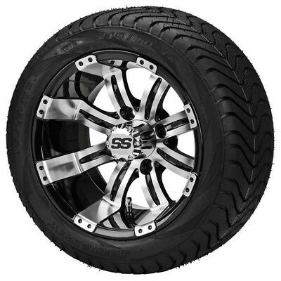 4 Golf Cart 215/40-12 Tire on a 12x7 Blk/Machined Tempest Wheel w/FREE Freight