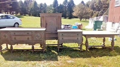 **ANTIQUE DINING ROOM SET** SOLID OAK 4 pieces: buffet, hutch, sideboard & table