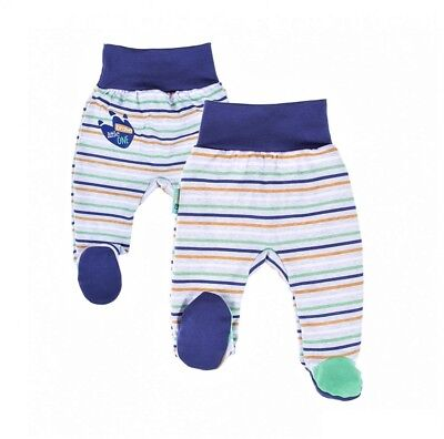 BNWT Baby Infant Boys GREY/GREEN/NAVY Striped Trousers with feet* 100% COTTON