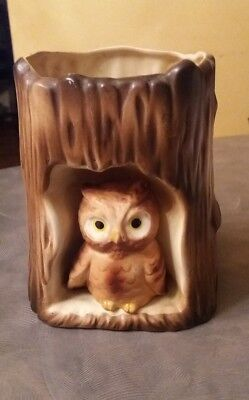 Vintage Owl in a Tree Trunk Planter