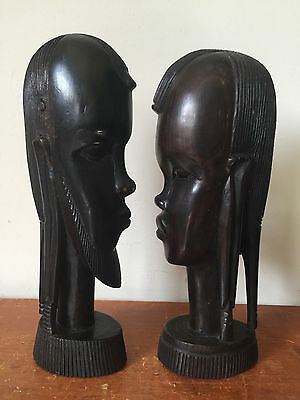 Vtg Hand Carved Wood Statues Man Woman Couple Heads Faces African Tribal Heavy