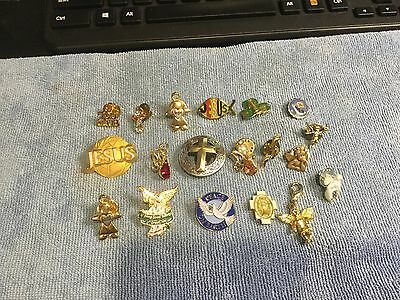 Lot of 19 Angel, Cross, Religious,   Pins Brooches Guardian
