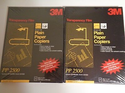 2 pack 3M PP2500 100 Sheets TRANSPARENCY FILM FOR PLAIN PAPER COPIERS New Sealed