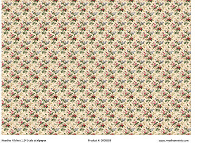 1:24 Scale Wallpaper Floral on Tan Background - 3 Sheets - 0000588