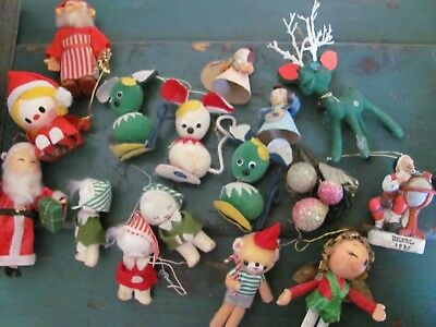 Vintage Lot of (16) Christmas Ornaments Decorations, Many Made in Japan