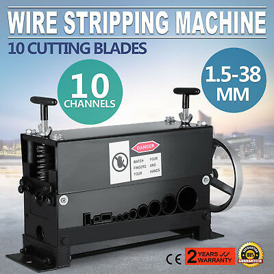 Manual 38mm Wire Stripping Machine Copper Cable Peeling Stripper w/ 10 Channels