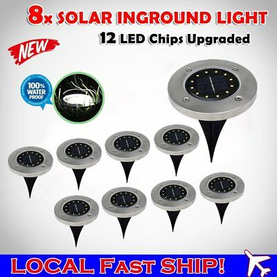 8x Solar Powered 12 LED Buried Inground Recessed Light Garden Outdoor Deck Path