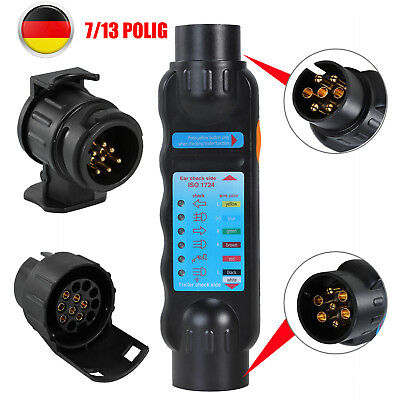 13 polig Tester Craft-Equip Pr/üfer Anh/änger-Steckdose 2 Adapter Diagnose 7