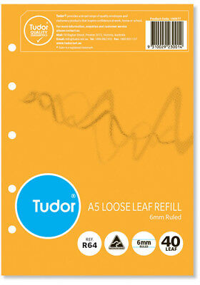 Tudor A5 Loose Leaf Refills 6mm Ruled 40 Leaf ***140977***