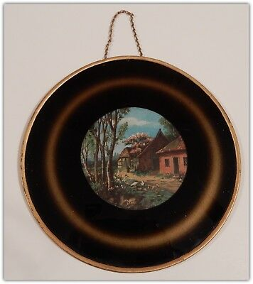 Charming Antique 19th Century Victorian 1880s/90s Flue Cover Cottage Scene   B