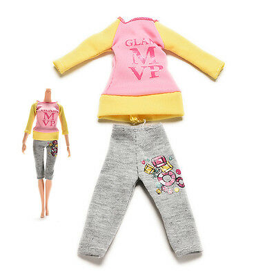 2 Pcs/set Fashion Dolls Clothes for Barbie Dress Pants with Magic Pasting HT