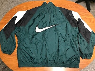 Men Vintage Nike Full Zip Big Swoosh Logo Green And Black Windbreaker Jacket  2Xl 3319cac39
