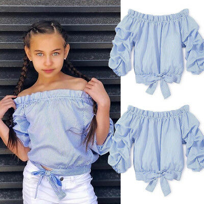 b264f193e0b2c9 USA Baby Girl Toddler Kids Off-shoulder Tops Tee Clothes Striped Blouse T- shirt