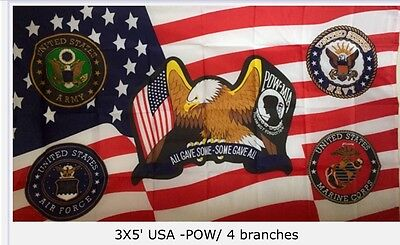 """3' X 5' US POW/MIA ON AN USA WITH 4 BRANCHES """"All Have Some, Some Gave All"""" FLAG"""