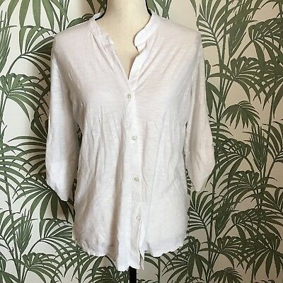 184f1233 Standard James Perse Womes Size 4 White Button Down Top 3/4 Sleeve Shirt