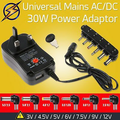 30W Universal Mains AC DC Power Adapter 3V To 12V Voltage Selection With 6 Tips