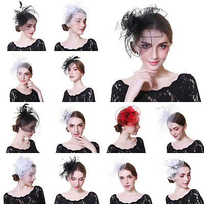 Flower Headbands Hats Feather Fascinator Wedding Races Ascot Hair Clips Party