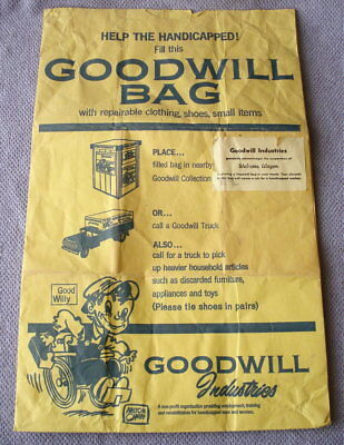 Vtg GOOD WILLY Goodwill Paper Donation Shopping Bag Milton Caniff Advertising