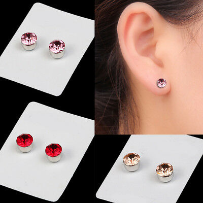 d790a8bff520b NON PIERCING CLIP on Magnetic Crystal Magnet Ear Stud Mens Womens Fake  Earrings
