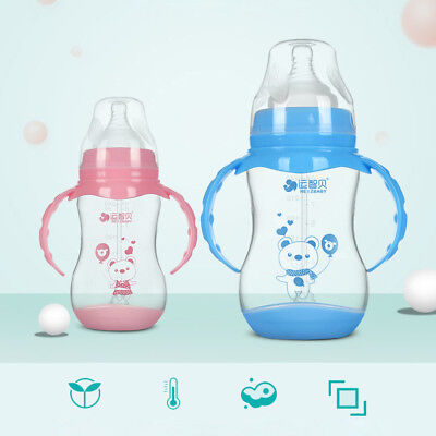 Wide Mouth Baby Infant Feeder Feeding Bottle with Handles and Gravity Ball