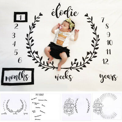 BU_ Newborn Baby Infants Milestone Blanket Mat Photography Prop Monthly Growth P